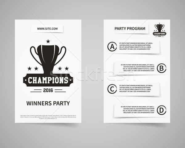 American football champions back and front flyer template design. Usa Sport brand identity letterhea Stock photo © JeksonGraphics