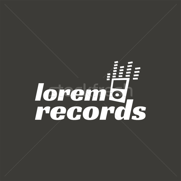Records, music recordign studio vector logo label, badge, emblem logo with musical instrument. Stock Stock photo © JeksonGraphics