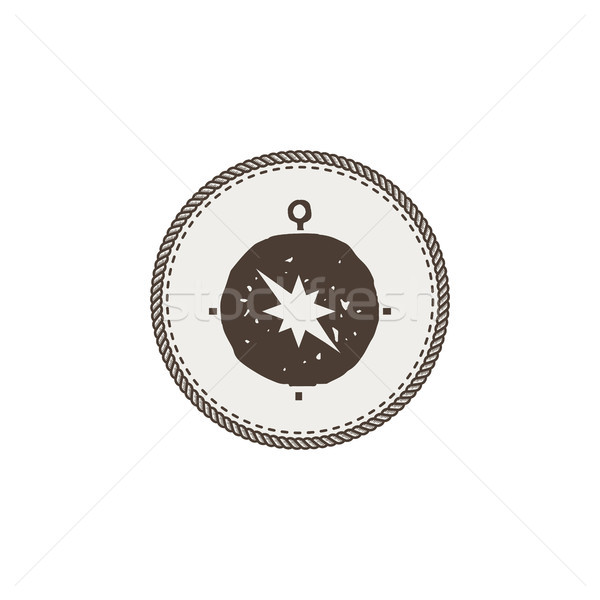 compass icon, sticker. Adventure symbol and patch. Stock vector illustration. Isolated on white back Stock photo © JeksonGraphics