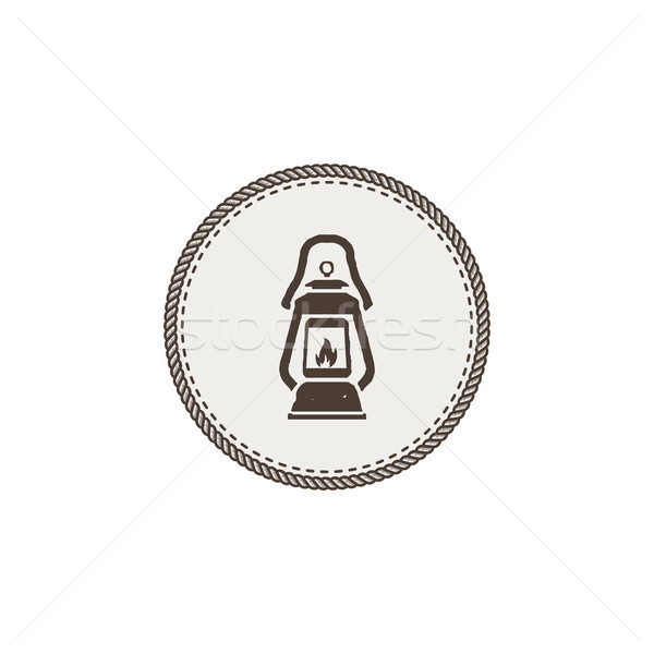 Vintage camping lantern patch isolated on white background. Retro gas lamp with glowing fire wick. S Stock photo © JeksonGraphics