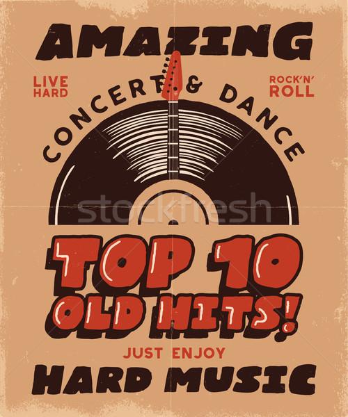 Musica poster concerto festival graphic design retro Foto d'archivio © JeksonGraphics
