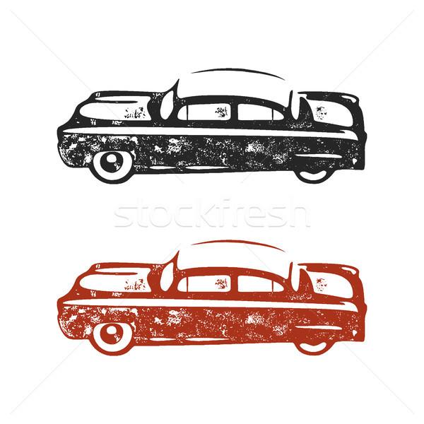 Klasszikus kézzel rajzolt autó retro szimbólum terv Stock fotó © JeksonGraphics
