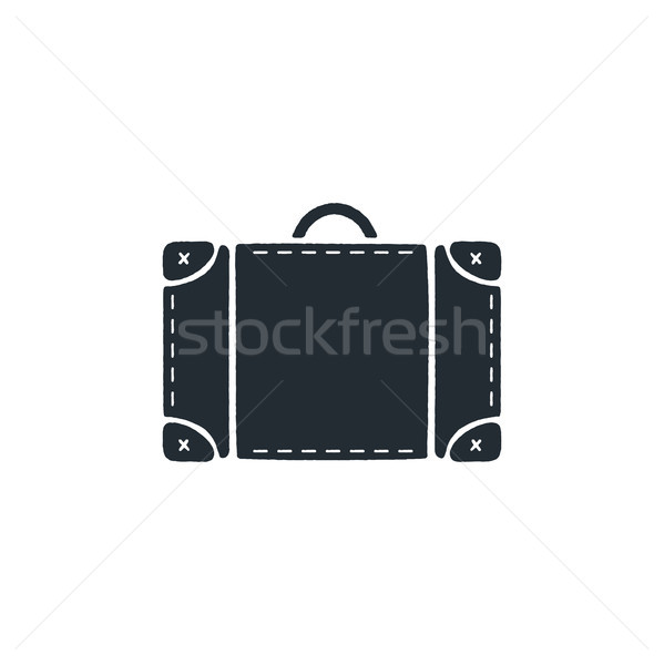 Vintage hand drawn travel bag. Silhouette design icon. Stock vector isolated on white background Stock photo © JeksonGraphics