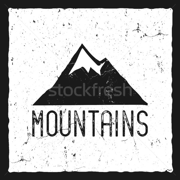 Hand drawn mountain poster. Wilderness old style typography label. Letterpress Print Rubber Stamp Ef Stock photo © JeksonGraphics