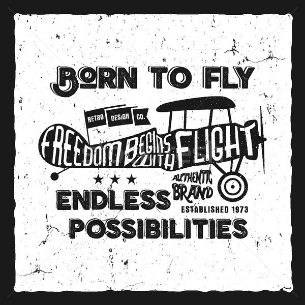 Zdjęcia stock: Vintage · samolot · druku · starych · szkoły · samolotów