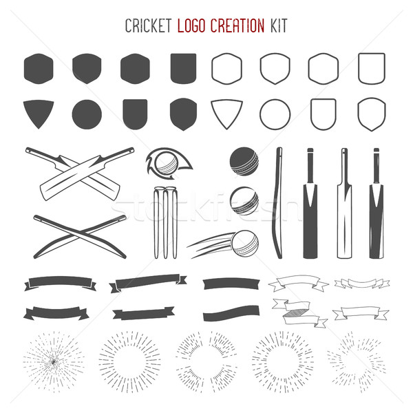 Cricket logo creation kit. Sports designs. icons set. Create your own emblem design fast. symbols, e Stock photo © JeksonGraphics