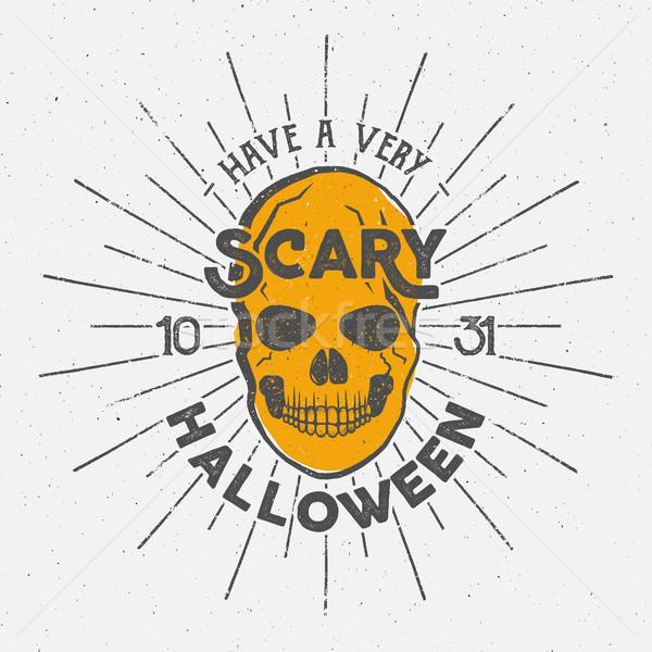 Halloween 2016 fête étiquette modèle crâne Photo stock © JeksonGraphics