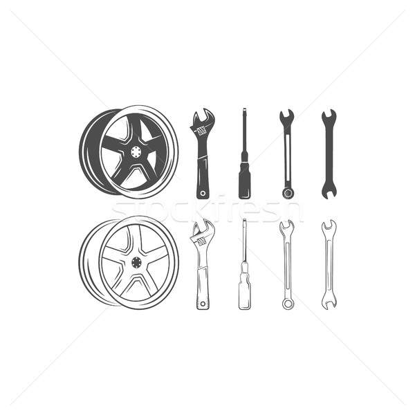 Set of car service tools and tire isolated on a white background. Lineart  silhouette design. Vector Stock photo © JeksonGraphics