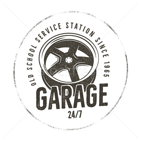 Garage old school service station label. Vintage tee design graphics, complete auto repair typograph Stock photo © JeksonGraphics