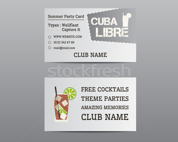 Summer cocktail party business card layout template with Cuba Libre cocktail. Fresh Modern ice desig Stock photo © JeksonGraphics