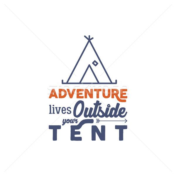 Camping logotipo tipografia provérbio linear viajar Foto stock © JeksonGraphics