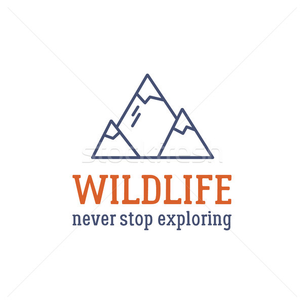 Camping logo design with typography and travel elements - mountain. text - wildlife, never stop expl Stock photo © JeksonGraphics