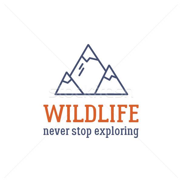 Camping logo design tipografia viaggio elementi montagna Foto d'archivio © JeksonGraphics