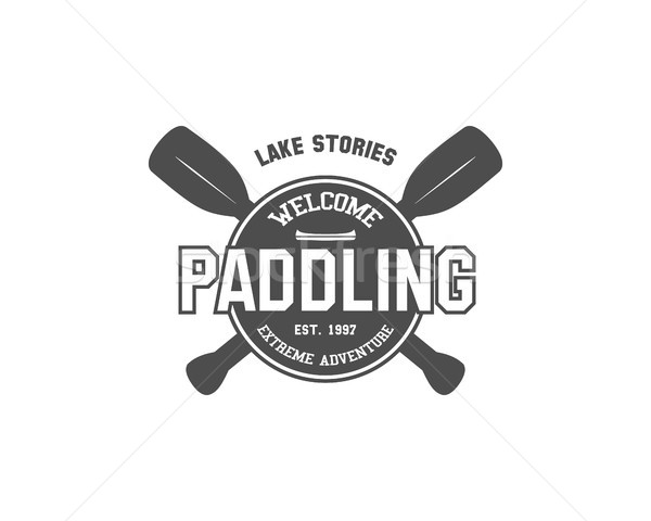 Vintage paddling, kayaking, canoeing camp logo, labels and badges. Stylish Monochrome outdoor design Stock photo © JeksonGraphics