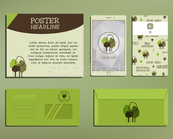 Green and organic corporate identity set template with tree elements. Vector company style for brand Stock photo © JeksonGraphics