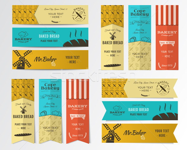 Vector Bakery banners. Shop, cupcake and cafe labels collection. Stickers set with fresh bread, wind Stock photo © JeksonGraphics