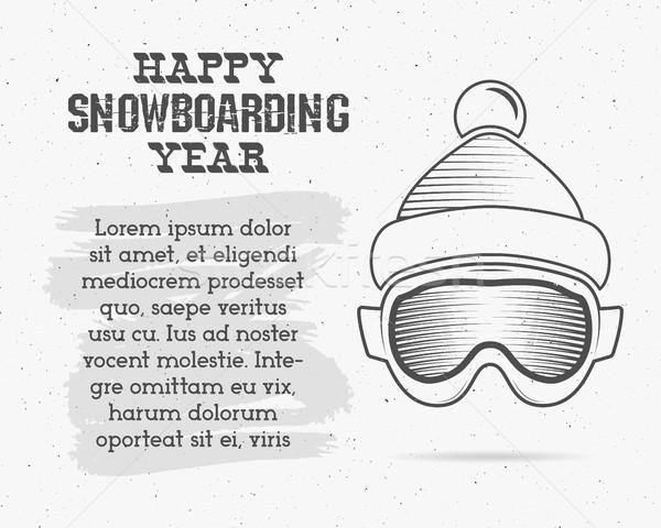 сноуборд изолированный темные очки икона текста сноуборд Сток-фото © JeksonGraphics