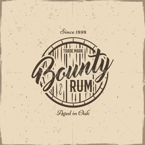 Vintage handcrafted label, emblem with old barrel and sign - bounty rum. Sketching filled style. Ret Stock photo © JeksonGraphics