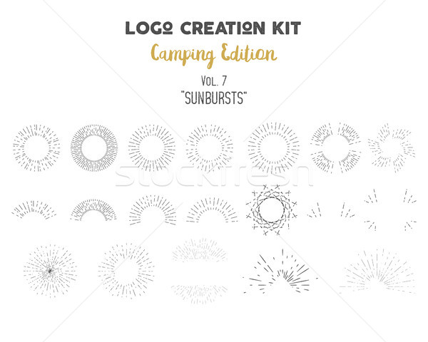 Logo creation kit bundle. Camping Edition set. Vector sunbursts shapes and elements. Create your own Stock photo © JeksonGraphics