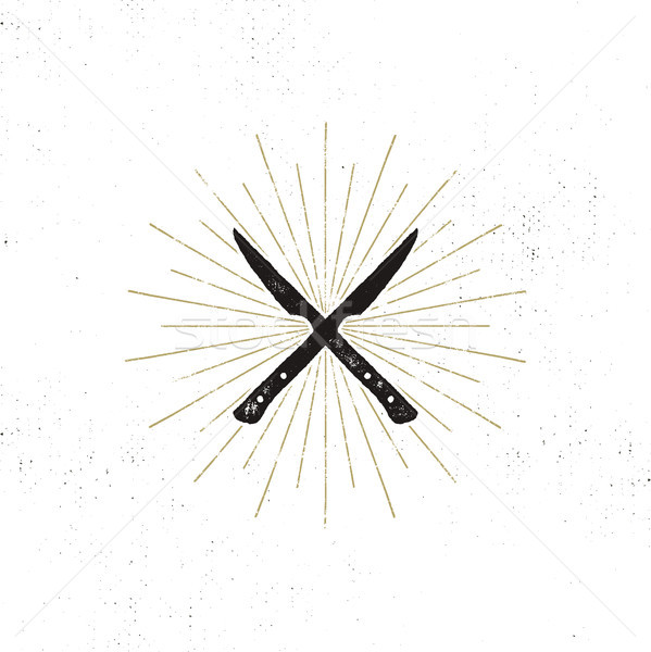 Stock photo: meat cleaver and knife symbols. Vintage steak house symbol. Letterpress effect with sunbursts. Vecto