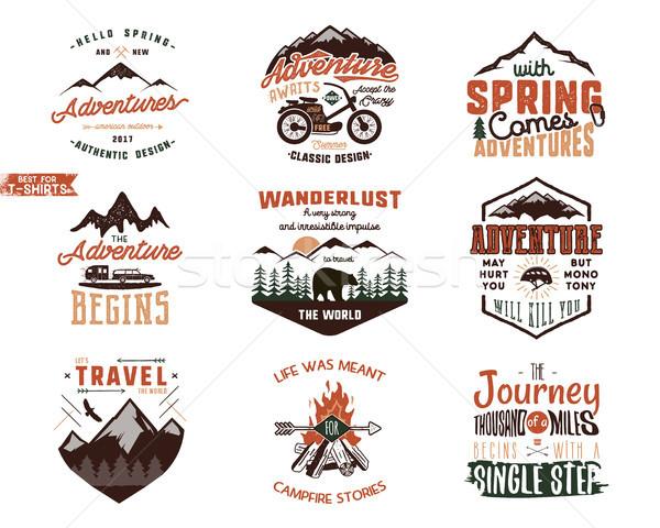 Set of Vintage adventure tee shirts designs. Hand drawn travel labels. Mountain explorer, wanderlust Stock photo © JeksonGraphics