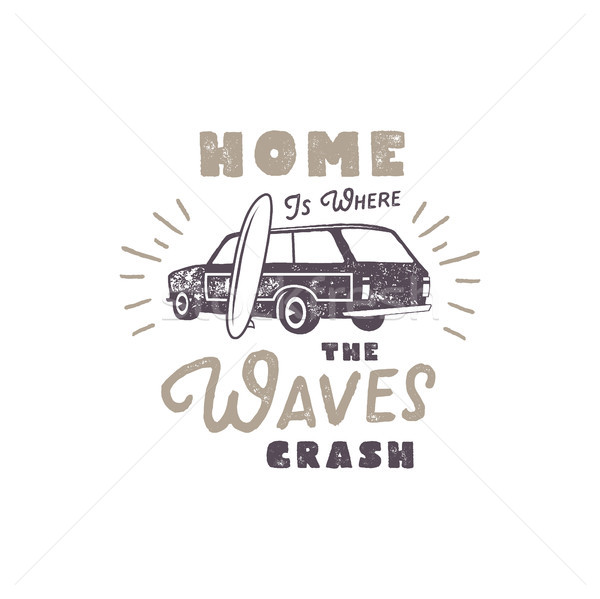 Summer label with retro surf car, surfboard and typography elements. Vintage beach style for t-shirt Stock photo © JeksonGraphics
