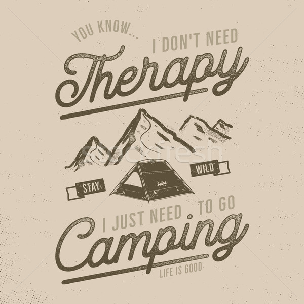 Vintage hand drawn t shirt design. Wanderlust, camping thematic tee graphics. Typography poster with Stock photo © JeksonGraphics