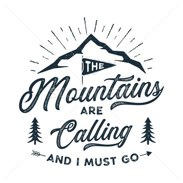 Utazás póló nyomtatott hegyek hív terv Stock fotó © JeksonGraphics