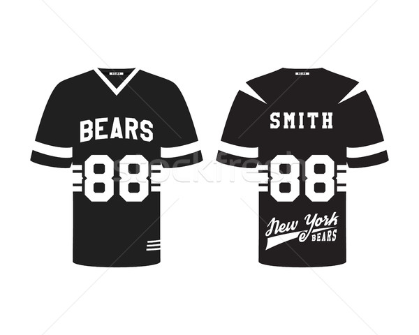 American football uniform, t-shirt design with team logo, label, badge.Stylish dark design. Can be u Stock photo © JeksonGraphics