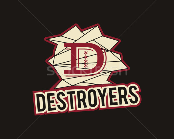 American football label. Destroyers logo element innovative and creative inspiration for sport team, Stock photo © JeksonGraphics