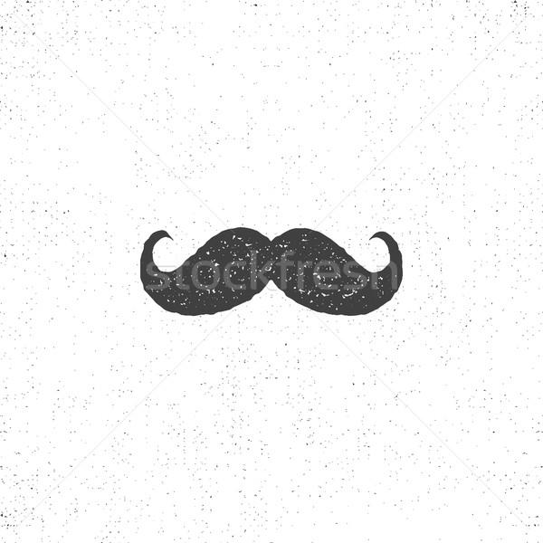 Retro hannd drawn mustache icon. Symbol of mustache in rustic style. Vector mustache isolated. Use o Stock photo © JeksonGraphics