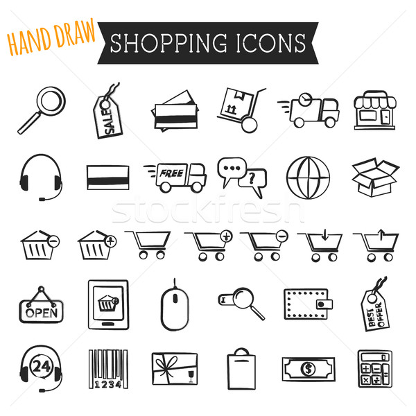 Set of On-Line Shopping icons isolated on white background. Hand draw style. Outline. Can be use as  Stock photo © JeksonGraphics