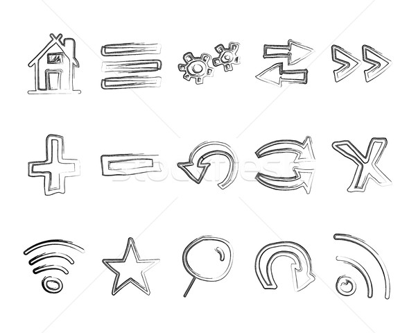 Hand drawn web icons and logo, arrows, internet browser elements set. Sketch, doodle liner style. Un Stock photo © JeksonGraphics
