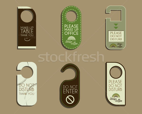 Brand identity elements- Door knob or hanger sign set- do not disturb design. For cafe, restaurant a Stock photo © JeksonGraphics