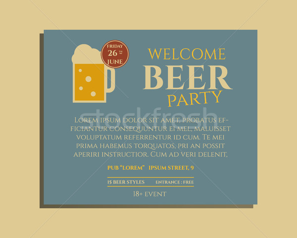 Beer party poster invitation template with glass of beer. Vintage design for club, pub or night beer Stock photo © JeksonGraphics