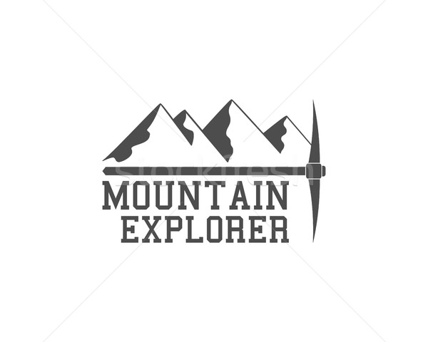 Vintage summer camp badge outdoors logo, emblem and label. Mountain Explorer concept, monochrome des Stock photo © JeksonGraphics
