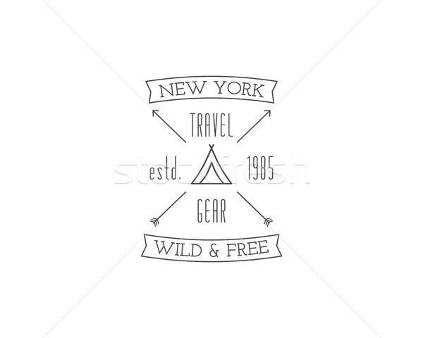 Vintage travel store camping badge, outdoor logo, emblem and label. Hiking, climbing concept, monoch Stock photo © JeksonGraphics
