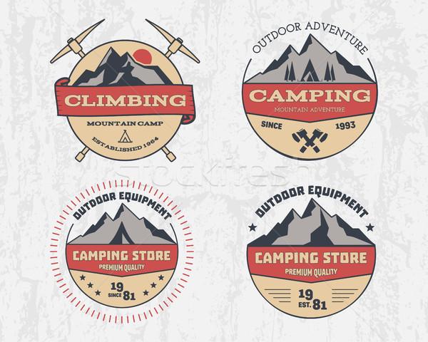 Set retro colore outdoor camping avventura Foto d'archivio © JeksonGraphics
