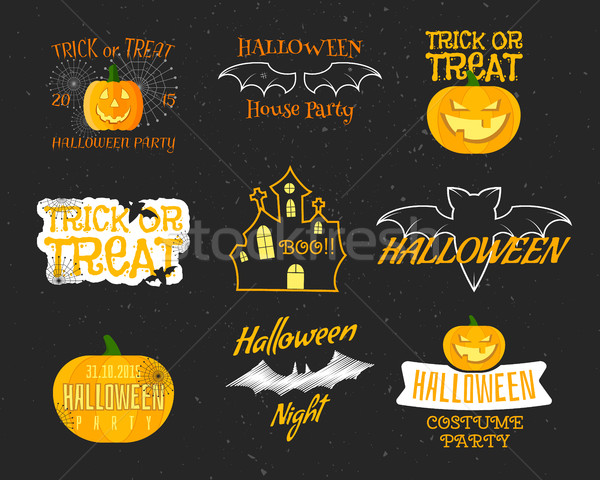 Set Of Vintage Happy Halloween Badges, Labels, Logos. Bat, pumpkin, Flat Icons and Other Elements. V Stock photo © JeksonGraphics