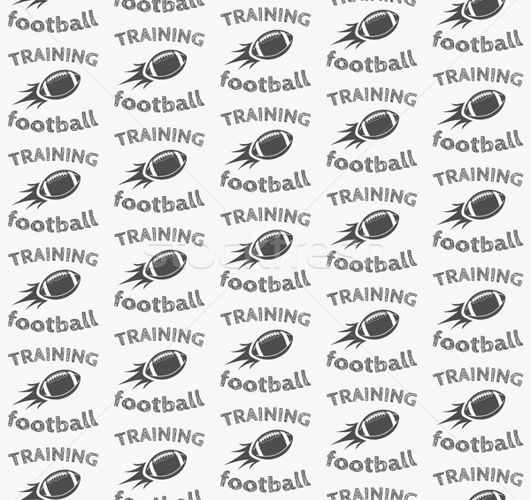 American football ball rocket seamless pattern in retro monochrome style. with training text. Sports Stock photo © JeksonGraphics