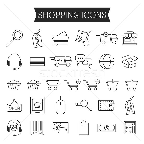 Set of On-Line Shopping icons isolated on white background. Outline. Can be use as elements in infog Stock photo © JeksonGraphics
