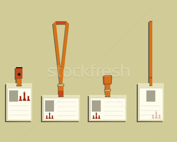 Business management consulting Lanyard, name tag holder and badge templates. Chess Smart solutions d Stock photo © JeksonGraphics
