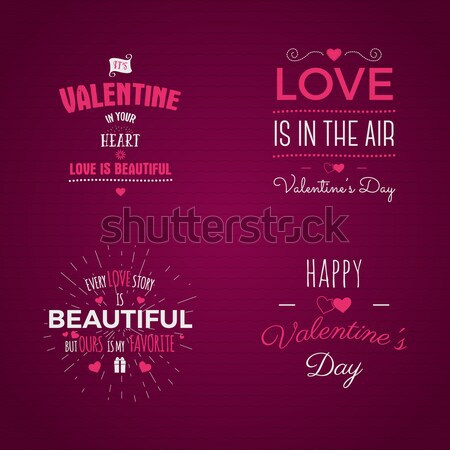 Vector photo overlays, hand drawn lettering collection, inspirational quote. Valentine day labels se Stock photo © JeksonGraphics