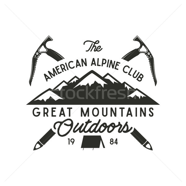 Climbing t-shirt design. Hand drawn vintage alpine label with texts, silhouett mountain, climb equip Stock photo © JeksonGraphics