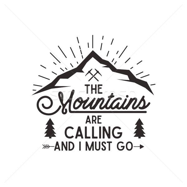 山 調用 向量 海報 探險者 復古 商業照片 © JeksonGraphics