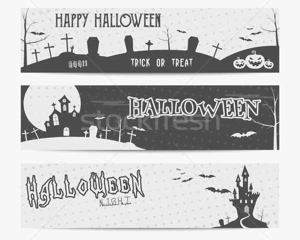Three Halloween landscape banners. Monochrome design. Can be use on web, print. As invitation, flyer Stock photo © JeksonGraphics