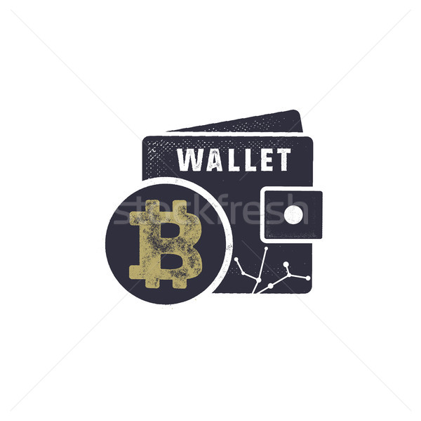 Bitcoin wallet emblem. Crypto currency label and concept. Digital assets logo. Vintage han drawn mon Stock photo © JeksonGraphics