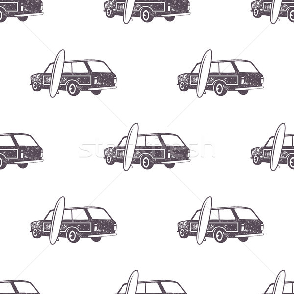 Surfing old style car pattern design. Summer seamless wallpaper with surfer van, surfboards. Monochr Stock photo © JeksonGraphics