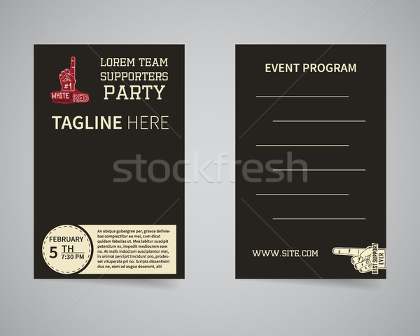 American football back and front supporters party flyer template design. Usa Sport brand identity le Stock photo © JeksonGraphics