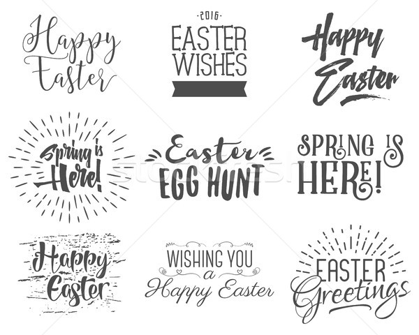 Easter wishes overlays, lettering labels design set. Retro holiday easter badges. Handdrawn emblem w Stock photo © JeksonGraphics